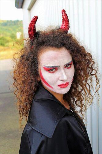 Haarreif 125773613F rot Pailletten Teufelshörner mit künstlichen Marabufedern