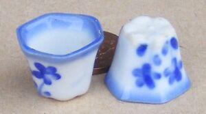 1-12-Echelle-2-Bleu-et-Blanc-Ceramique-Hexagonal-Plante-Pots-Poupees-Poupees-2