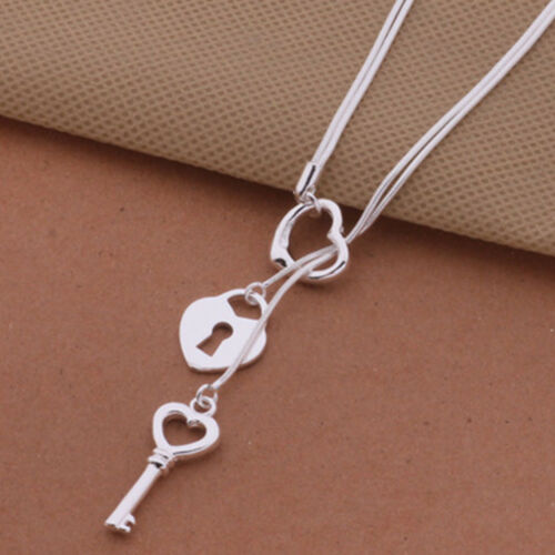 Pretty Hot Silver Plated Key Pendant Fashion Cute Charms Women Necklace Jewelry