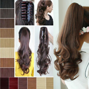 Real-Thick-Clip-In-Pony-Tail-Hair-Extensions-Claw-Clip-On-Ponytail-As-Human-US