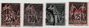 1880-1886-FRANCIA-COLONIE-4-VAL-EMISSIONI-COMMERCIO-DI-CUI-UNO-NUOVA-CALEDONIA