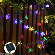 23FT Solar Blossom Flower Fairy 50 LED String Lights  for Outdoor Garden Wedding