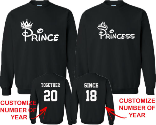Couple Matching CREWNECK Prince Princess FASHION TOGETHER SINCE Back DATE NUMBER