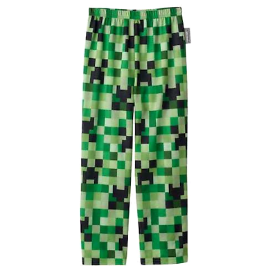 Boys Minecraft Lounge Pants Black with Green Creeper