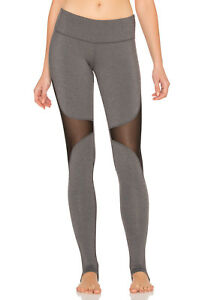 ce167ca50d893 ALO YOGA COAST STIRRUP LEGGINGS IN STORMY HEATHER/BLACK MESH INSETS ...