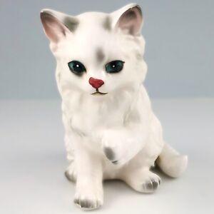 Lefton White Gray Persian Cat Figurine Hand Painted Porcelain H1513 Japan Vtg