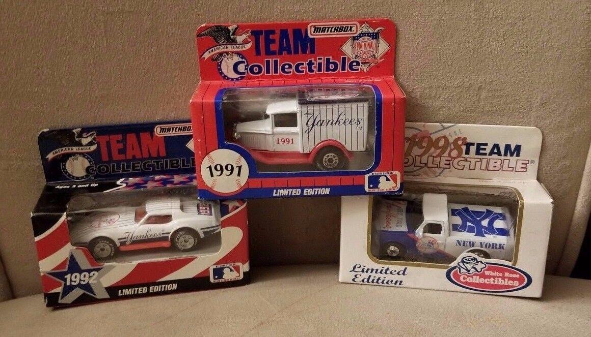 3 New York Yankees - Matchbox '91 Truck, '92 corvette & White pink '98 pick-up