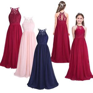 fb5f5a9ba49 Image is loading Flower-Girls-Lace-Dress-Kids-Princess-Party-Wedding-