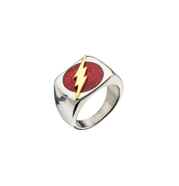 DC Comics Superhero Fastest Man Alive The Flash Raised Bolt Stainless Steel Ring