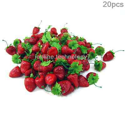 20 x fake strawberry artificial fruit faux food house kitchen party decor red