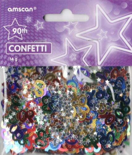 3 PACK 90TH BIRTHDAY CONFETTI TABLE SPRINKLES MULTI COLOURS TABLE DECORATIONS