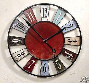 Monumental Horloge murale 74cm diamètre en fer montre rouge bleu antique NEUF