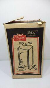 Vintage-Red-Orange-Regal-Electric-Poly-Urn-Coffee-Maker-w-box-Mid-Century-Modern