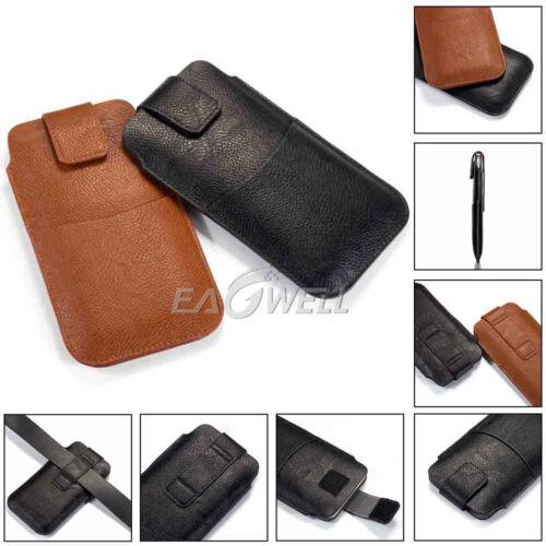 Cuero Universal Teléfono Funda Con Clip Para Cinturón Bolso de la cintura Billetera Petaca Estuche Cubierta