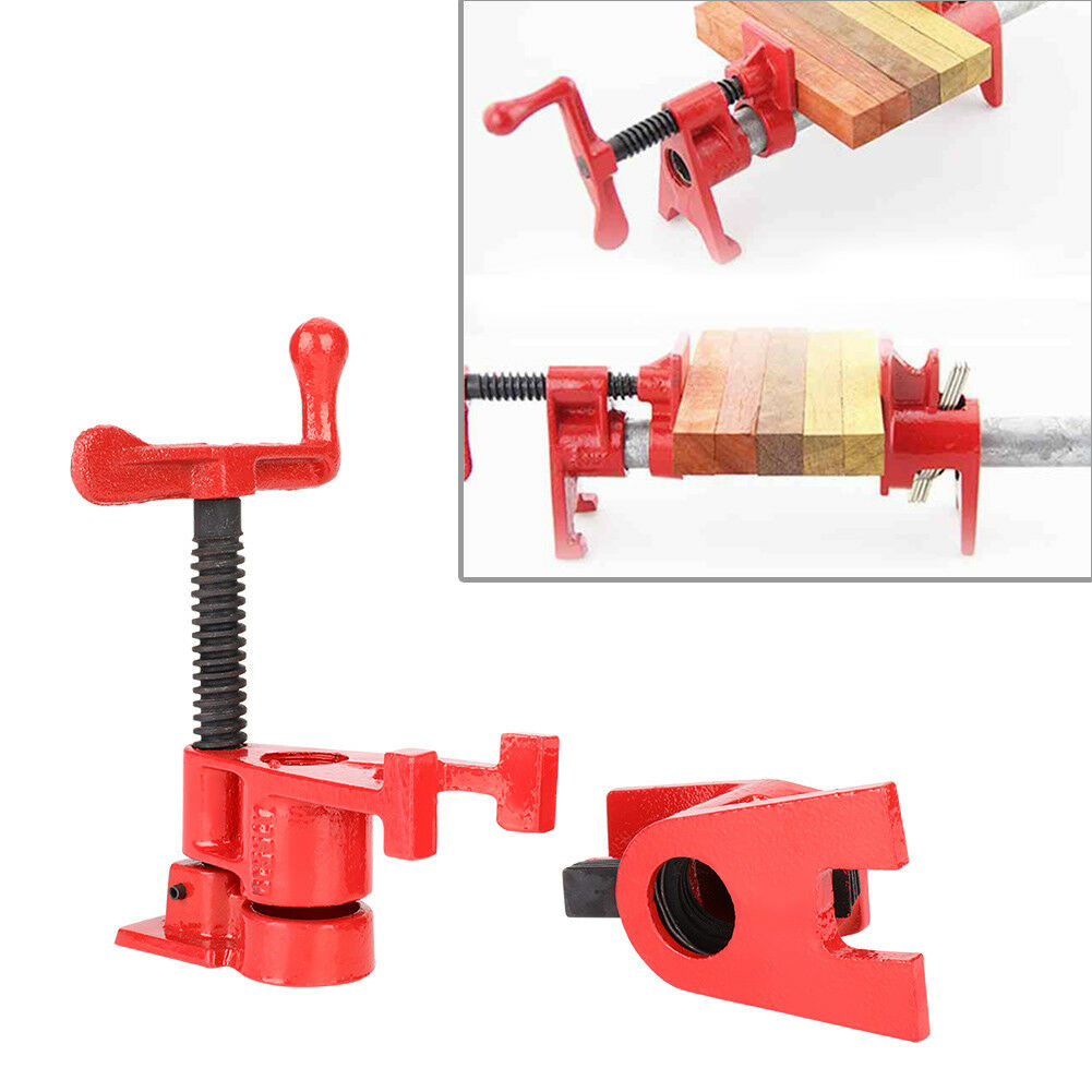 """8Pcs(4 set) 3/4"""" Clamping Blocks Pipe Clamps Woodworking Joint Hand Tool Set Red 5"""