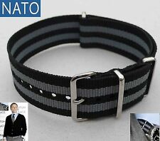 NATO 20mm noir-gris ( watch montre strap reloj correa cinturino bracelet strap )