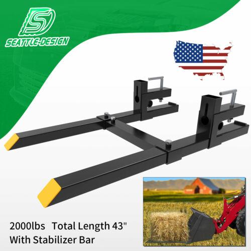 4000lb//2000lb Bucket Fork Clamp On Loader Quick Attach Fork w// Stabilizer Bar