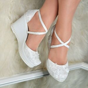Women Bridal Satin Floral Lace Wedge Shoe High Heel Ivory Pumps Ankle Strap Size