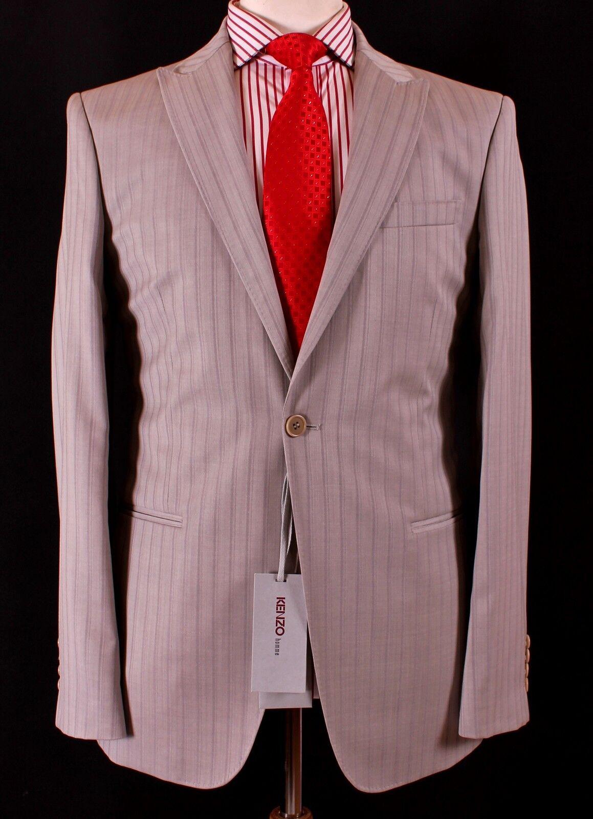 KENZO HOMME Grau Pinstripe SLIM FIT 100% WOOL Suit UK40 IT50 BNWT
