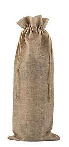 10 Pack Burlap Wine Bottle Gift Bag