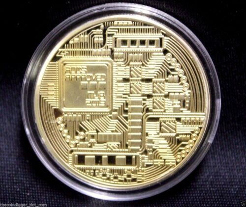 BTC Gold Plated BITCOIN 1oz Copper Coin Round In Capsule USA Seller /& Miner ✯ hi