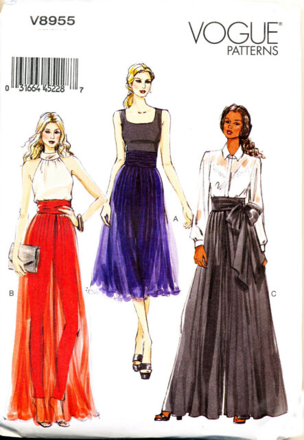 Vogue Sewing Pattern 8955 Misses Sz 6 14 Loose Fitting Wide Leg