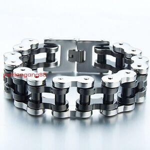 Heavy-Silver-Black-Mens-Motorcycle-Biker-Chain-316L-Stainless-Steel-Bracelet-9-034