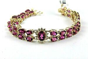 Natural-Oval-Pink-Tourmaline-amp-Diamond-Tennis-Bracelet-14K-Yellow-Gold-21-52Ct