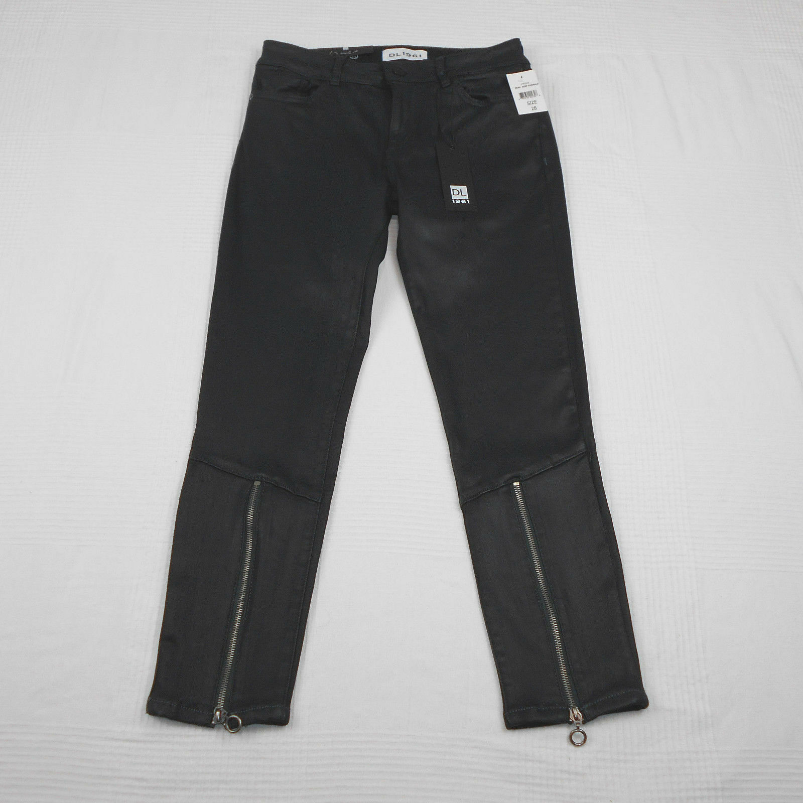 DL1961 Florence Coated Denim Pants Skinny Jeans Deep Emerald Instasculpt Crop 28