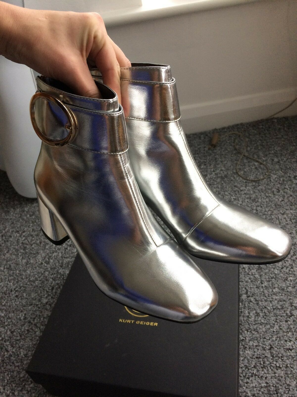 New in box  Ladies KURT GEIGER Dilly Silver Heel Boots. Size UK 4