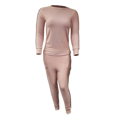 Ladies Plus Size Knitted Striped Bottoms Long Sleeve Lounge 2 Piece Jogging Suit