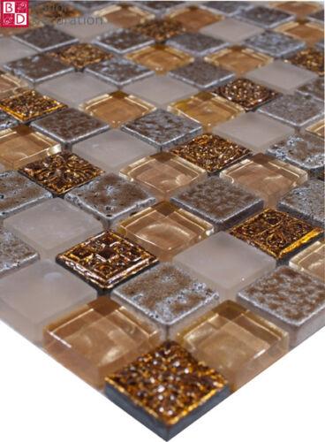 Glasmosaik marmoriert Mosaik Mosaikfliesen mosaike Glas Gold Silber Beige 30x30