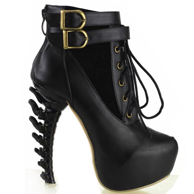 Punk Lace Up Buckle High-top Bone High Heel Platform Ankle Boots, Black/Brown