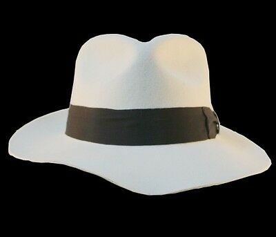4d8f5ed56 MICHAEL JACKSON MJ White Fedora Billie Jean Wool Hat Cap Costume !! | eBay