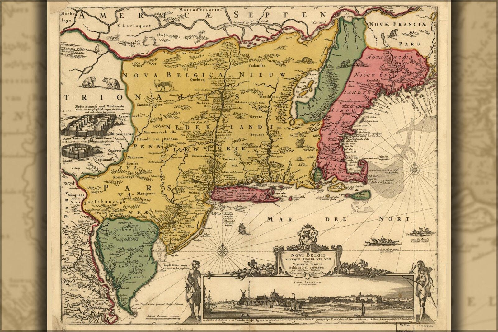 Poster, Many Größes; Map Of New England & New Belgium 1685