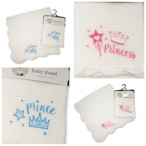 BABY BOYS GIRL WHITE CHRISTENING SHAWL WRAP BLANKET NEWBORN GIFT PRINCE PRINCESS