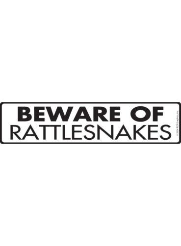 "12/"" x 3/"" Warning Beware of Rattlesnakes Aluminum Animal Sign and Sticker"
