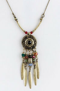 South-Western-Tribal-Antiqued-Gold-Metal-Pendant-Charms-Beads-Necklace