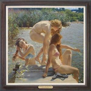 "Hand painted Original Oil painting art Portrait swim girl on Canvas 30""X30"""