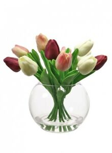 Details About Artificial Pink Cream Tulip Flower Arrangement Gl Fish Bowl Vase Clear Water