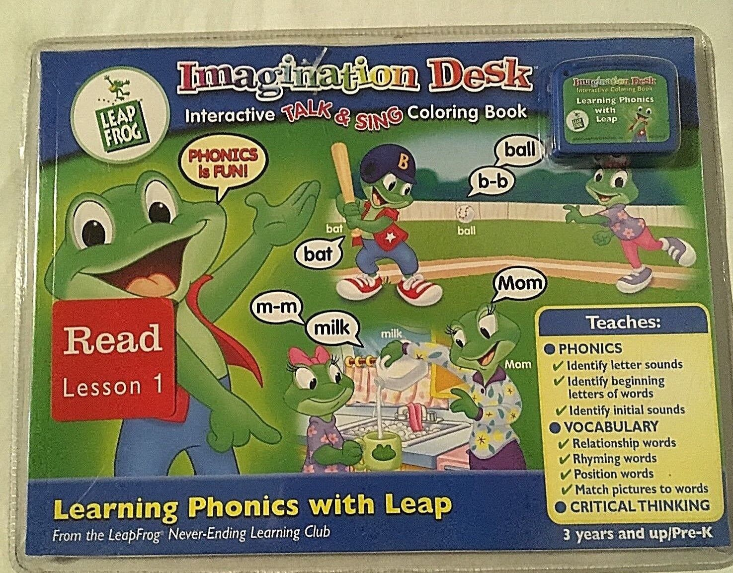 NEW LEAP FROG IMAGINATION DESK INTERACTIVE TALK & SING COLORING BOOK FREE SHIP