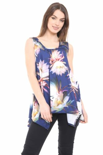 WOMENS HANKY HEM SLEEVELESS SCOOP NECK PRINTED LONG TUNIC VEST TOP PLUS SIZE8-26