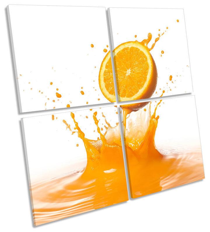 Splash De Frutas Naranja Cocina Cocina Cocina MULTI LONA parojo arte Foto Cuadrado 75d5e0