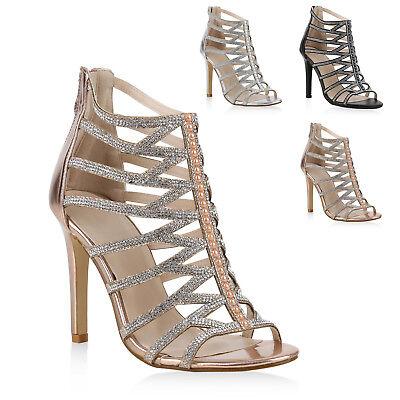 Damen Abiball Hochzeit High Heels Riemchensandaletten Strass 820360 Schuhe