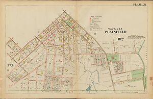 1906 PLAINFIELD UNION NEW JERSEY NETHERWOOD STATION PARK AV-TERRILL RD ATLAS MAP