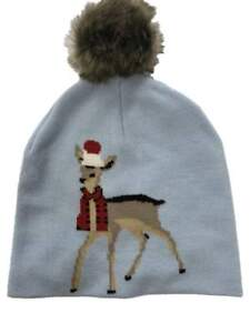 Womens Blue Pom Reindeer Beanie Hat Knit Christmas Holiday Stocking ... 1808d91bc0d
