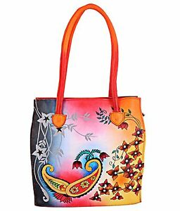 Image Is Loading Zint Leather Hand Painted Handbag Shoulder Bag Purse