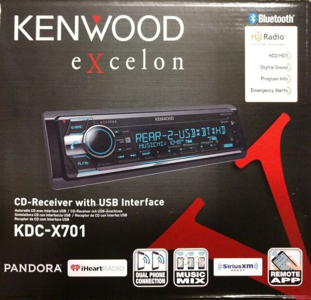 Kenwood Excelon KDC-X701 CD Receiver with USB Interface AUX/BT/SiriusXM/HD Radio