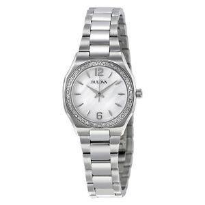 Bulova Women's Quartz Diamond Bezel Mother of Pearl Dial 26mm Watch 96R199