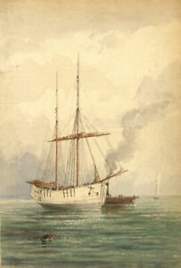 Frank-Rutley-Stavanger-Boat-Relic-Teignmouth-Devon-1890-watercolour-painting